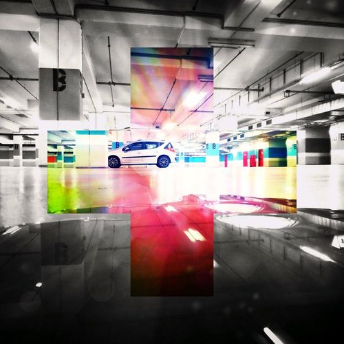 Digital composite image of illuminated subway station