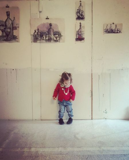 Portrait Real People Babygirl Girl Red Indoors  IPhoneography Exposure Expo Childhood One Person Full Length Children Only Child People Standing