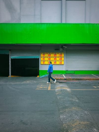 5,10, 15, 20 Supermarket Verde Green Street Photography Prices Precios Aurrera Caminando Mexico Full Length Built Structure Men Standing Building Exterior Outdoors One Man Only People