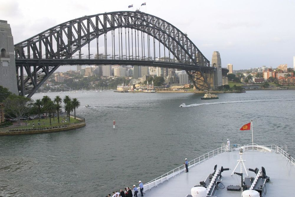 QE2 cruiseshop with Sydney Harbour Bridge Architecture Bridge - Man Made Structure Building Exterior Built Structure City Cityscape Connection Cruiseship Cunard World Cruise Day Harbor Large Group Of People Nature Nautical Vessel Outdoors People QE2 River Sky Transportation Travel Destinations Tree Water