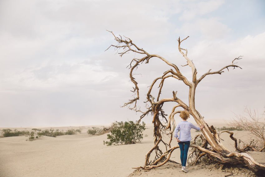Arid Climate Arid Landscape Bare Tree Casual Clothing Curly Hair Day Death Valley Death Valley National Park Desert Desert Dunes Full Length Girl Landscape Nature One Person Outdoors Real People Sand Sand Dune Sand Storm Sky Standing Storm Tree Lost In The Landscape