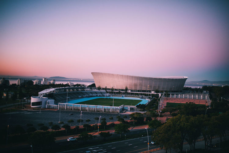 Athletics Cape Town Field Green Point Green Point Stadium Pink Sky South Africa The Week On EyeEm Architecture Athletics Track Building Exterior Built Structure City No People Pastel Colors Sky Stadium Sunset