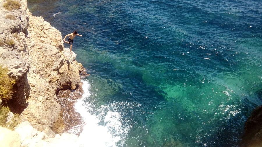 Blue Lifestyles People Outdoors Rock Nature Sea Water Beauty In Nature Sunlight Mediterranean Sea Tabarca's Island Spain♥