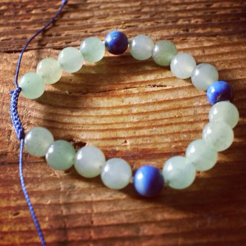 New Aventurine and Lapis Lazuli Wrist Mala! Jewelry Bracelet Gemstones Lapis