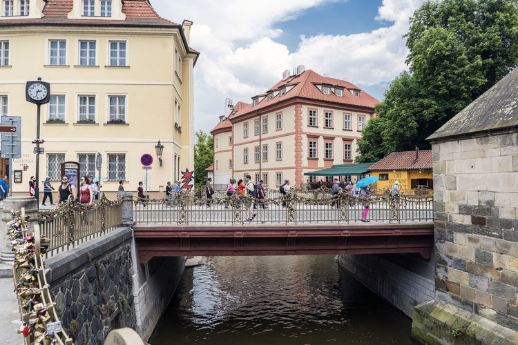 Views of the main monuments and streets of Prague, in the Czech Republic Amazing Architecture Architecture Bridge - Man Made Structure Building Exterior Built Structure Capital Cities  Cloud - Sky Connection Day European  Landscape Large Group Of People Light Men Outdoors People Real People Sky Tourism Destination Travel Destinations Water Women