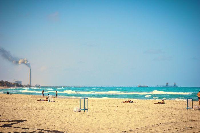 Beach Sea Sand Blue Horizon Over Water Water Nature Sky Clear Sky Shore Beach Volleyball Tranquility Waves Travel Tourism Desert Sands Ashkelon Israel Smoke Scenics
