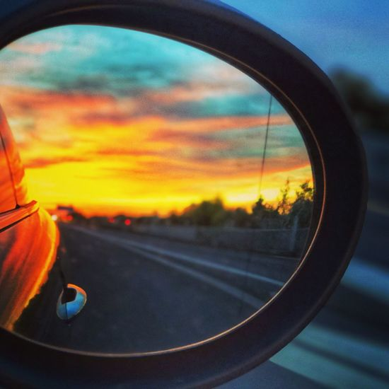 Autumn. In the mirror. In Germany. Transportation Orange Color Sky Cloud - Sky Land Vehicle Mode Of Transportation Road Sunset No People Reflection Focus On Foreground Glass - Material Nature Car Window Outdoors Motor Vehicle Side-view Mirror Close-up EyeEmNewHere Capture Tomorrow My Best Photo My Best Photo Stay Out