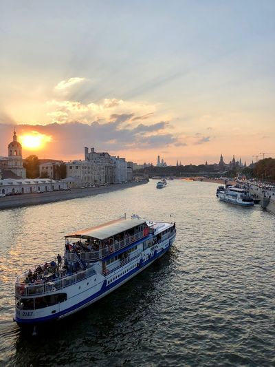 Nautical Vessel Sky Transportation Sunset Water Mode Of Transportation Architecture Cloud - Sky Waterfront Building Exterior Built Structure Nature City Ship Travel Passenger Craft Outdoors No People Moscow Moscow Life Moscow River River View Moscow Sunset