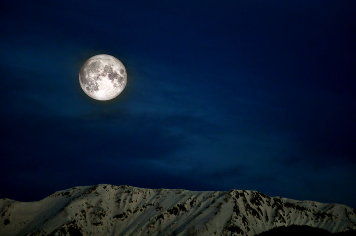 beautiful moon in the mountains of Trentino Alto Adige. Italy Astronomy Beauty In Nature Blue Full Moon Moon Moon Surface Moonlight Mountain Nature Night No People Outdoors Scenics Sky Space Space Exploration Star - Space Tranquil Scene Tranquility
