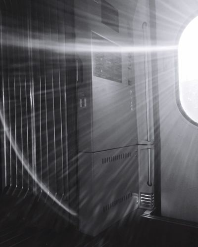 Sunrise Train Sunrays Sunray Of Light Train Car Ice Bahn Indoor Traveling Travel Spring Has Arrived Black And White Blackandwhite Black & White
