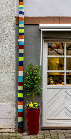 Knitting Yarnwork Building Exterior Day Drain Pipe Knitting Art Knitting Cover Multi Colored No People Outdoors