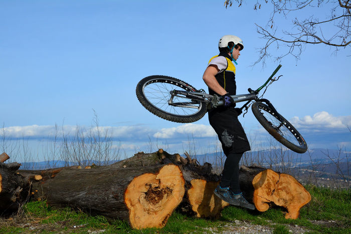 Not Me Having Fun Bicycle Jumping Chopped Trees Day Jumping Down Blue Sky Sky Nikon Nikon D5200 Actor Model Check This Out Outdoors Focused February Nature Photography Beautiful EyeEm Nature Lover In The Air