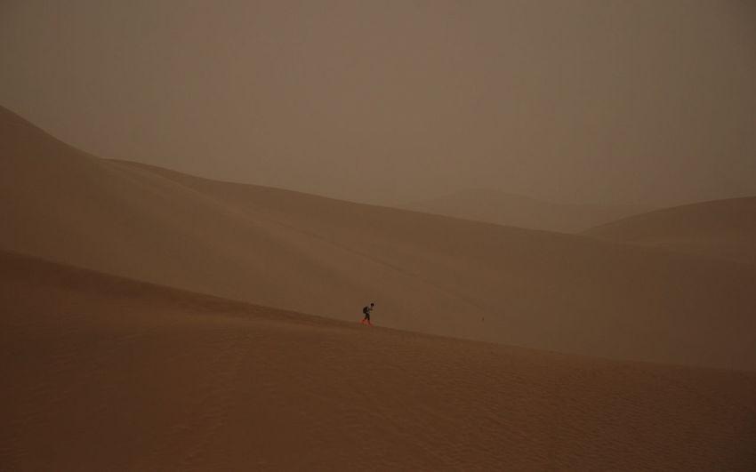 Person at sandy gobi desert against sky