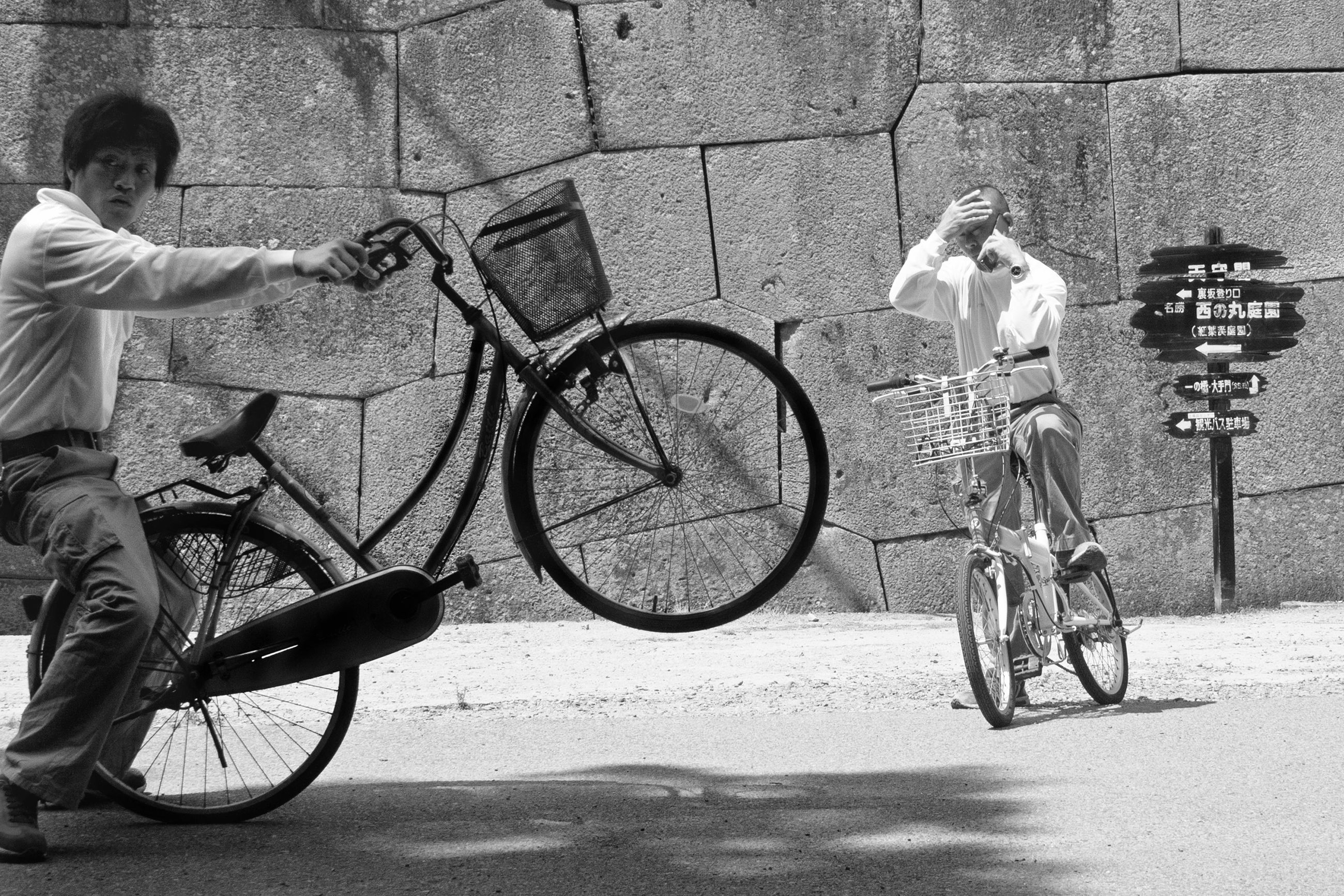 bicycle, transportation, mode of transport, land vehicle, lifestyles, real people, riding, two people, men, cycling, day, outdoors, people