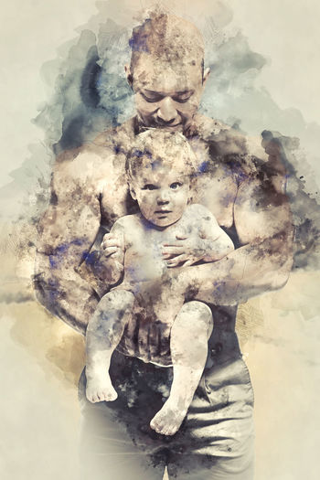 Athletic father with lovely daughter. Digital watercolor painting. Dad Digital Drawing Digital Paint Family Love Watercolour Daughter Digital Art Digital Illustration Digital Painting Digitally Altered Digitally Generated Digitally Generated Image Father Father And Daughter Illustration Infant Kid Parent Toddler  Togetherness Two People Watercolor Watercolor Painting Watercolour Painting