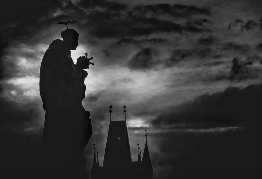 Prague VII Prague Blackandwhite Bnw Monochrome EyeEm Best Shots Black And White Place of Heart Mood Church Moon Moonlight Prague Czech Republic EyeEm Selects Human Representation Architecture Built Structure Building Exterior