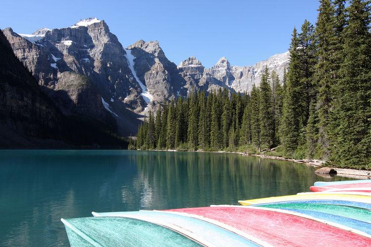 Boats Moored At Lake In Banff National Park