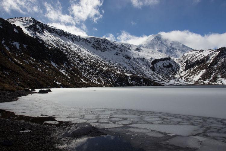 The frozen upper tama lake on the tama lakes/ tongariro northern circuit hiking track, new zealand.