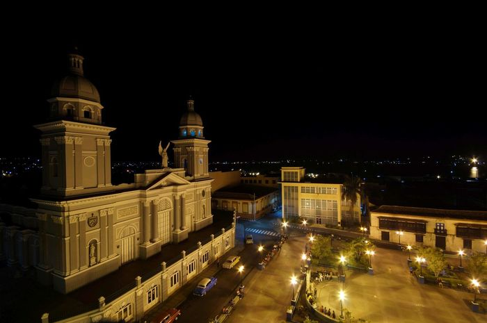 Cathedral ( view from Hotel Casa Grande) Architecture Caribbean Cathedral, Church City Cuba, Illuminated Night Photography Park, Santiago De Cuba Street,