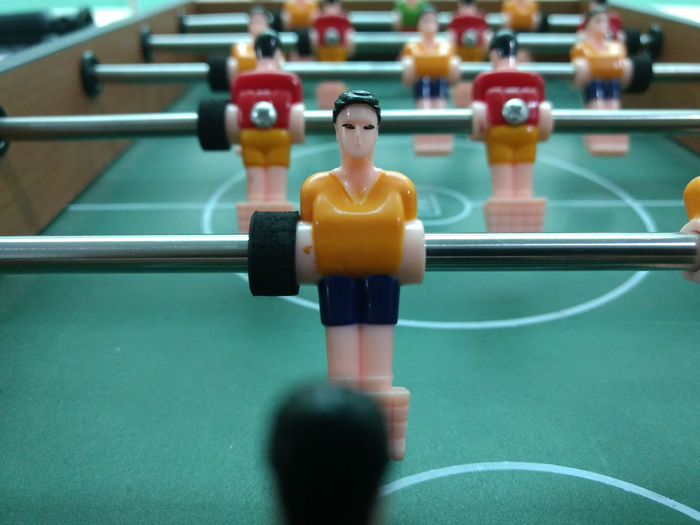 Close-up of foosball indoors