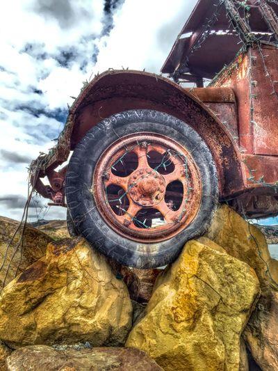"""Keep On 'Truckin"" Truck Tire Tires Wheels Wheel Antique Car Antique Truck Rocks Old Truck"