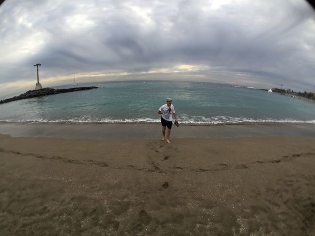 Friend Beach Testing The Water Holiday Fish Eye Dramatic Clouds Sand Footprints Quick Dip Blue Wave