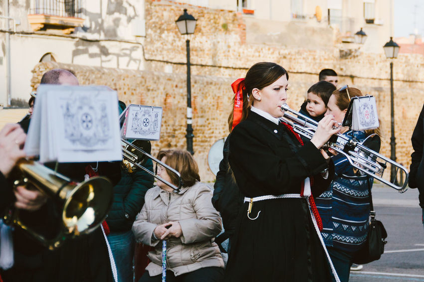 Semana Santa 2016, Spain Arts Culture And Entertainment Band City Life Crowd Holy Week Leisure Activity Lifestyles Music Outdoors Parade Person Procession Semana Santa SPAIN Street Tradition Traditional Traditional Culture Trombone Woman Young Woman
