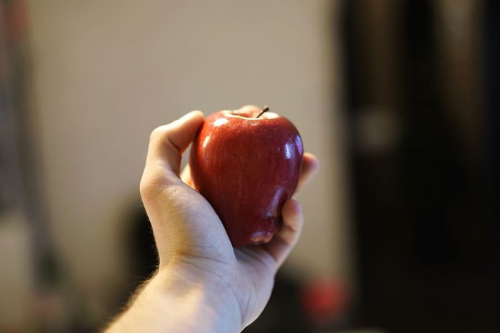Human Hand Food Healthy Eating Fruit Food And Drink Freshness One Person Holding Human Body Part Red Focus On Foreground Close-up Real People Indoors  Healthy Lifestyle Fig Day Apple Red Apple
