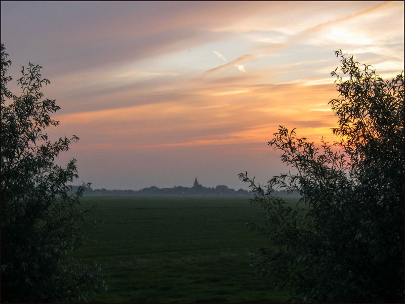 evening mood, view from a dyke Blue Hour Dyke  Evening Mood Holland Scene Meadow Sky Sunset Tranquil Scene Waver