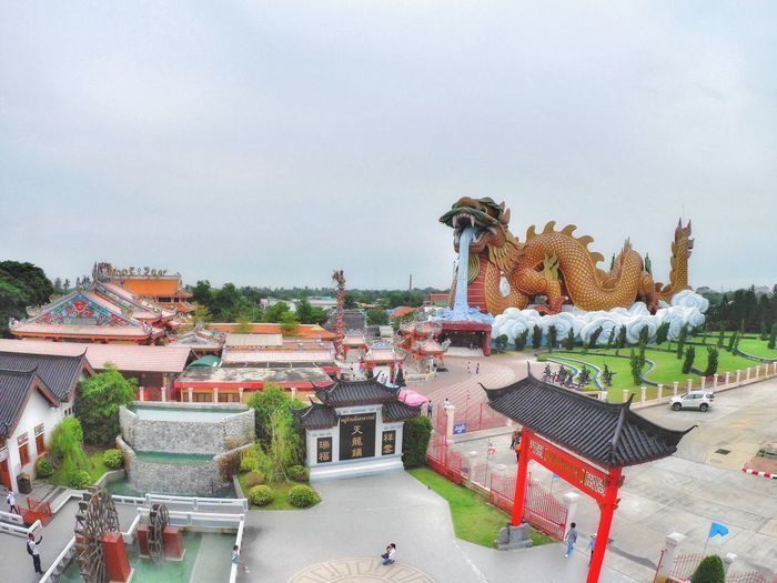 Dragon Chinese Warrior Landscape Cityscape Shrine Suphanburi Tree City Politics And Government Sky Architecture Building Exterior Chinese Dragon