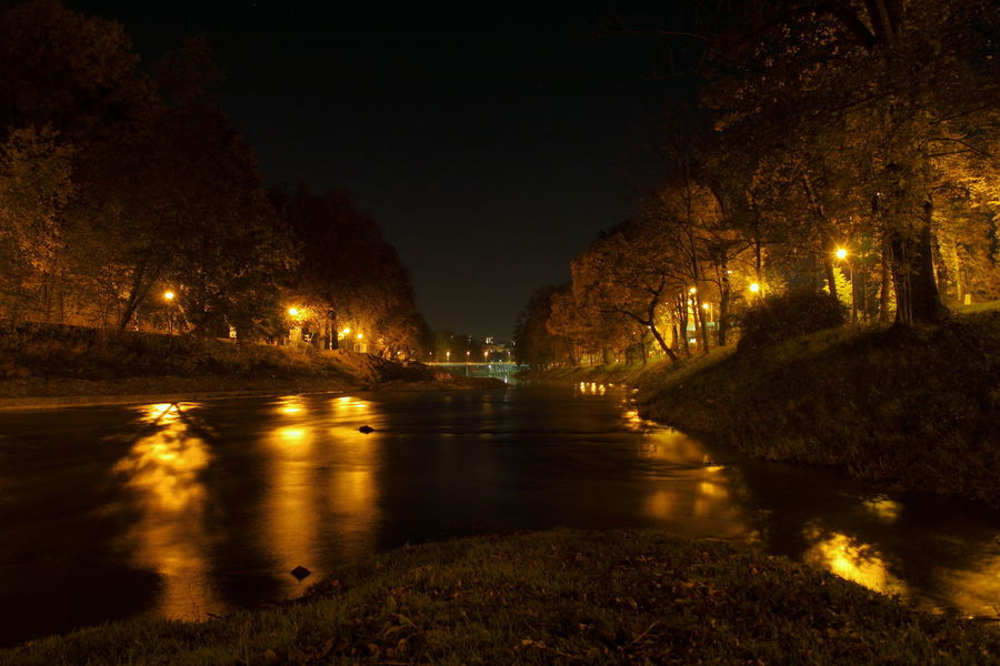 Autumn Leaves City Dark Impressive Trees Water Reflections Architecture Bridge Canal Cieszyn City Lights Diminishing Perspective Illuminated Island Lamps Light And Shadow Nature Night No People Olza Outdoors Park View River Riverbank Sky