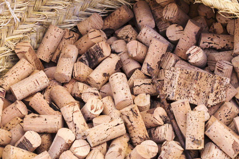 Lots of cork stoppers for wine bottles
