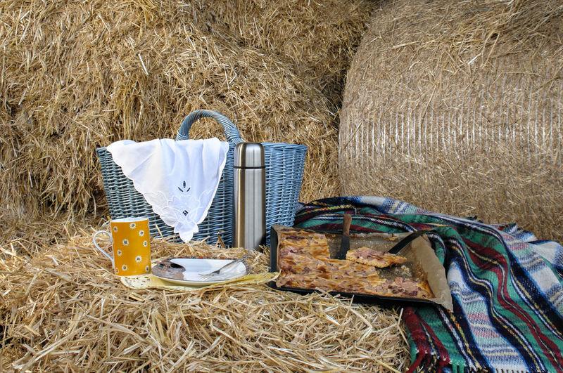 Picnic Food Against Hay Bale
