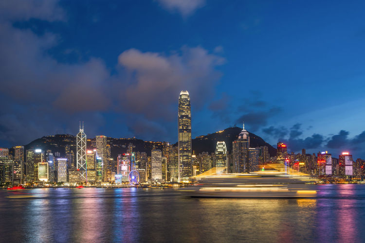 Scenic view of hong kong skyline at night