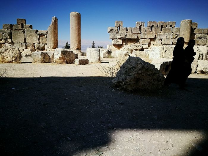 Architecture Built Structure Sunlight Shadow Outdoors Building Exterior Sunny History Day The Past Sky Famous Place Ancient Burka  Muslim Lebanon Middle East Baalbek Ruins Stone Wall Old