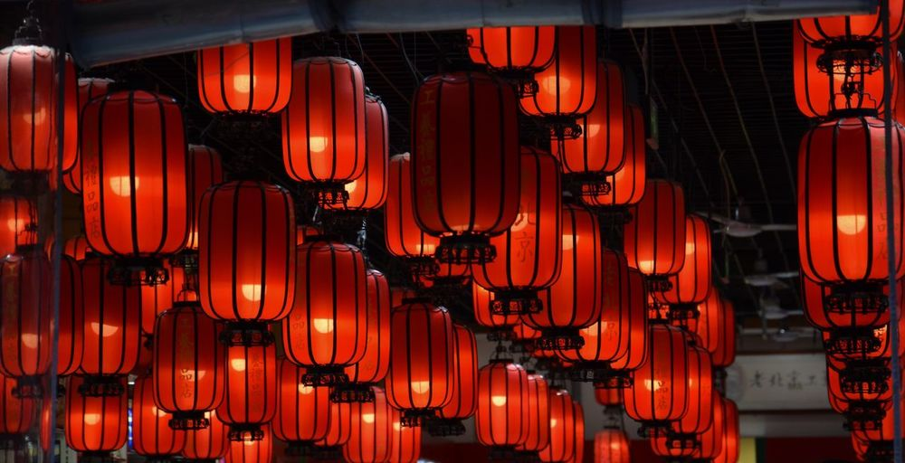 Pékin, Chine. Hanging Lighting Equipment Decoration Illuminated No People In A Row Lantern Chinese Lantern Night Red Event Celebration Backgrounds Indoors  First Eyeem Photo