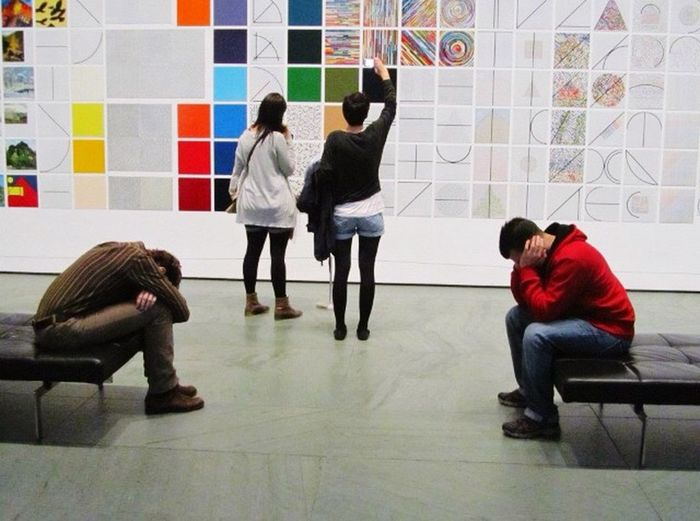 Two types of people in a museum.. Museum Art Moma Moma N.Y. People Watching Visiting Museum Tired Awake Two Type
