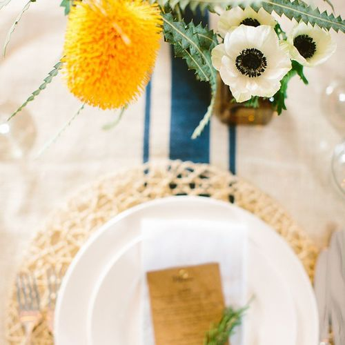 This colour combo gets me everytime♡ @hellogemevents and @jemerling are the bomb! @floresnair Florrierfiesta @acehotel Palmsprings California JacandJil Handmade Napkins Textiles Linens @Etsy Events Floral Weddingreception Wedding Table Dining Decor Tablescape Party Desert Sunflower Yellow Gray Navy Blue