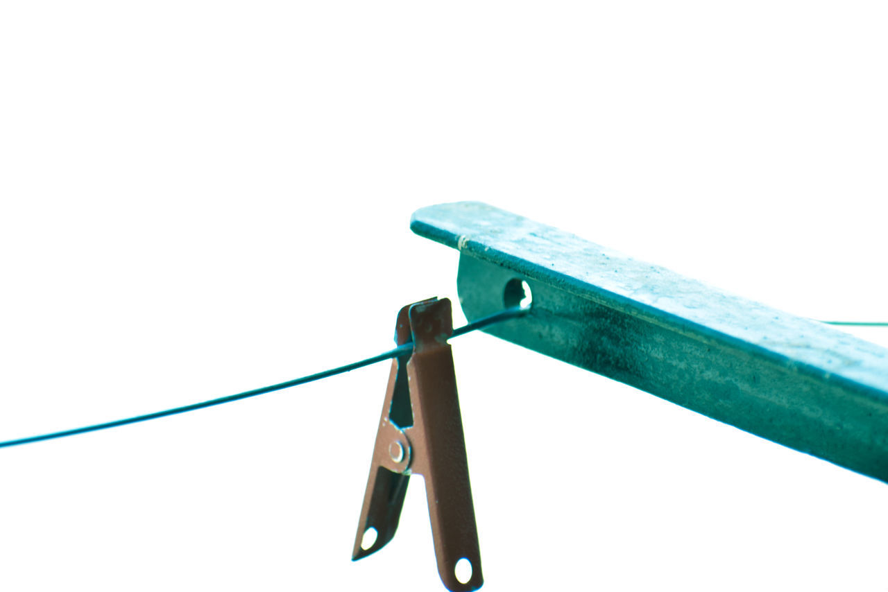 hanging, clothespin, no people, close-up, clothesline, white background, studio shot, outdoors, day, clear sky