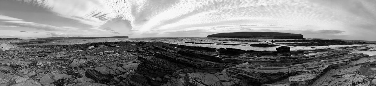 At the Orkney Islands Sky Cloud - Sky Scenics - Nature Nature Water Land Sea No People Solid Beauty In Nature Landscape Rock Environment Panoramic Rock - Object Beach Travel Destinations Geology Outdoors Scotland Neverstopexploring  Orkney Islands