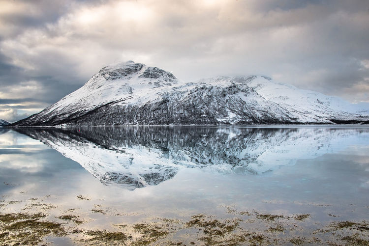 Beauty In Nature Cloud - Sky Cold Temperature Day Fjordnorway Fjordsofnorway Frozen Glacier Ice Lake Mountain Nature No People Norway Nature Norwaynature Olderdalen Outdoors Reflection Sky Snow Water