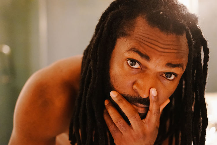 Self. Portrait Looking At Camera One Person Hair Headshot Front View Focus On Foreground Hairstyle Close-up Black Hair Indoors  Lifestyles Real People Dreadlocks Young Adult Emotion Body Part Human Face Contemplation Teenager Making A Face Selfportrait