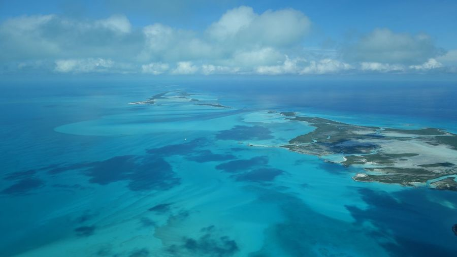 Shroud Cay Exuma Bahamas Aerial Photography Sea Beach Coastline Scenics Clouds And Sky Aerial Shot Outdoors Aerial View Seascape Blue Clear Water Island Sea And Sky Exuma Beauty In Nature
