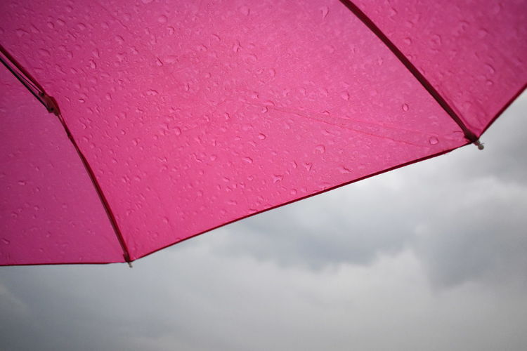 Low angle view of wet pink umbrella against sky