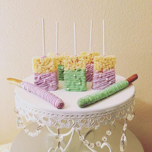 Bridal Shower Treats💜 Rice Krispies Pretzels Treats Lavender Mint Green