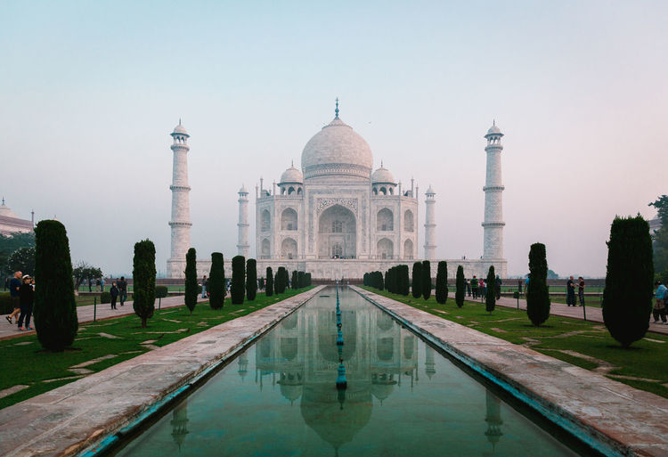 Taj Mahal Taj Mahal, India, Wonder, Love, Mughals, Place Of Worship Architecture Built Structure Sky Building Exterior Nature Outdoors Love Maharaja India Water Reflection Travel Destinations Dome Tourism Travel Waterfront Reflecting Pool Clear Sky Tree History Lake Plant Arch Swimming Pool