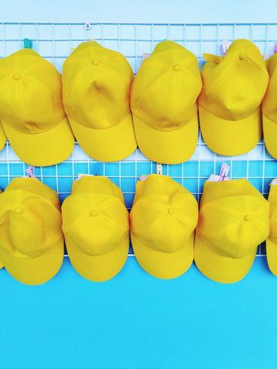 Full frame shot of yellow umbrellas