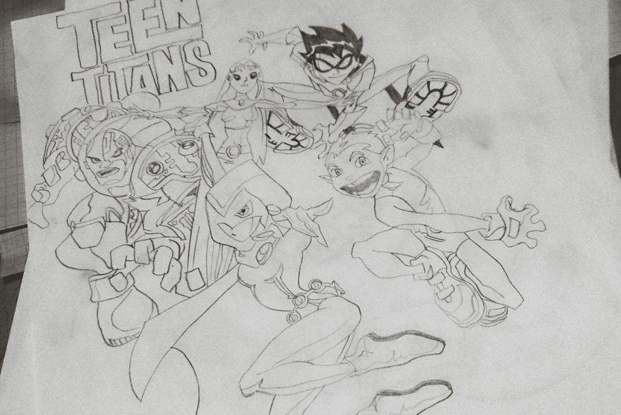 Teen Titans, 2015 Art My Art My Work Comic Cartoon Cartoon Network Illustration Teen Titans Concept Compositions Sketching Drawing