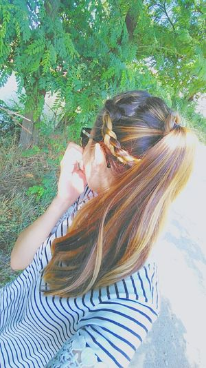 Hairstyle Braided Hair Ponytail Hands Nature Sunglasses Green Leaves