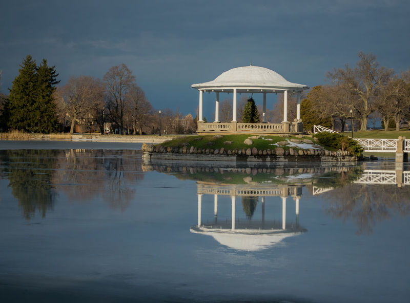 Reflection Tree Architecture Gazebo Park Winter Lake Cold Serene Dreaming Syracuse Ny Built Structure Water Sky Outdoors No People Day